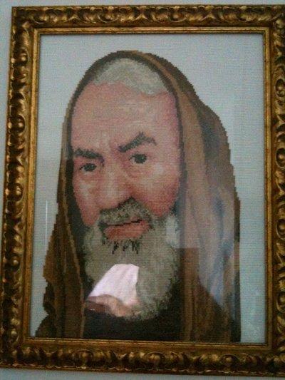 Padre Pio ricamato a punto croce