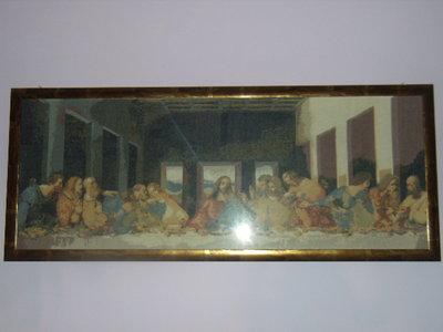 Ultima cena di Gesu' con apostoli ricamata a punto croce