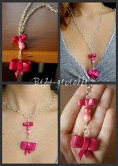 Collana fiocco rosa