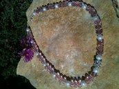collana rosa e bianca con swarovsky