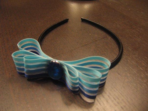 Cerchietto organza azzurro