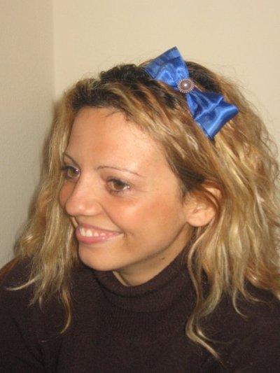 Cerchietti con fiocco in raso blu