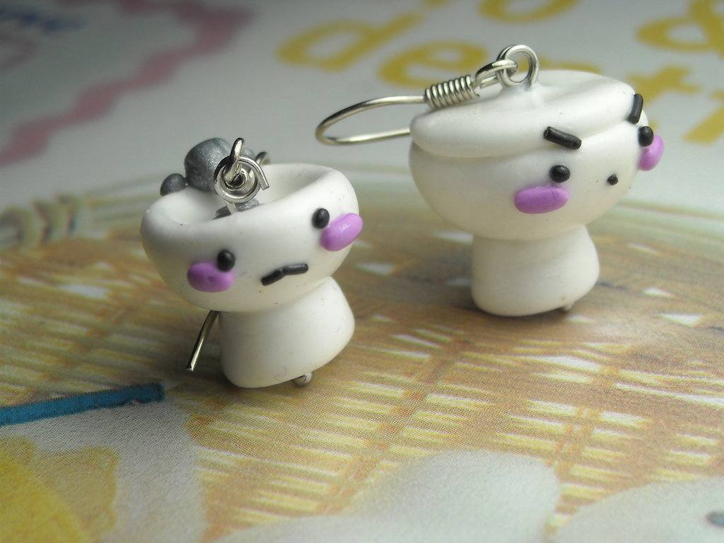 orecchini fimo WC + BIDET kawaii handmade originali idea regalo spiritosa scherzo divertente unici