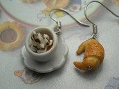 Orecchini tazzina tazza caffe panna cornetto colazione croissant breakfast idea regalo