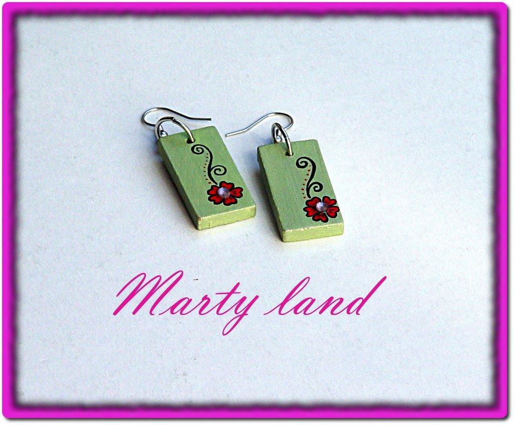 orecchini di legno dipinti a mano - verdi