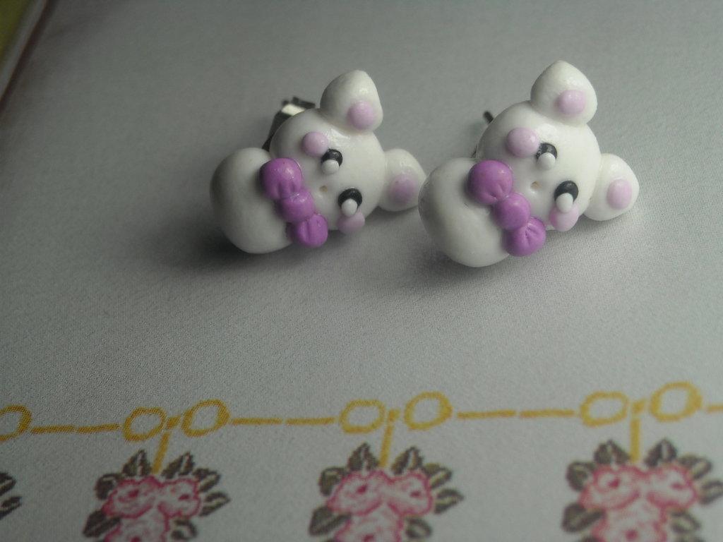 Orecchini perno lobo coniglietti alice kawaii handmade