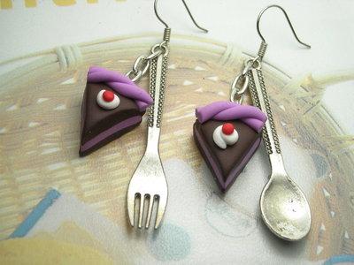 Orecchini fimo torta posate miniature kawaii handmade