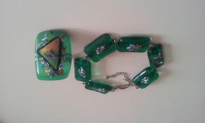 Bracciale verde e anello