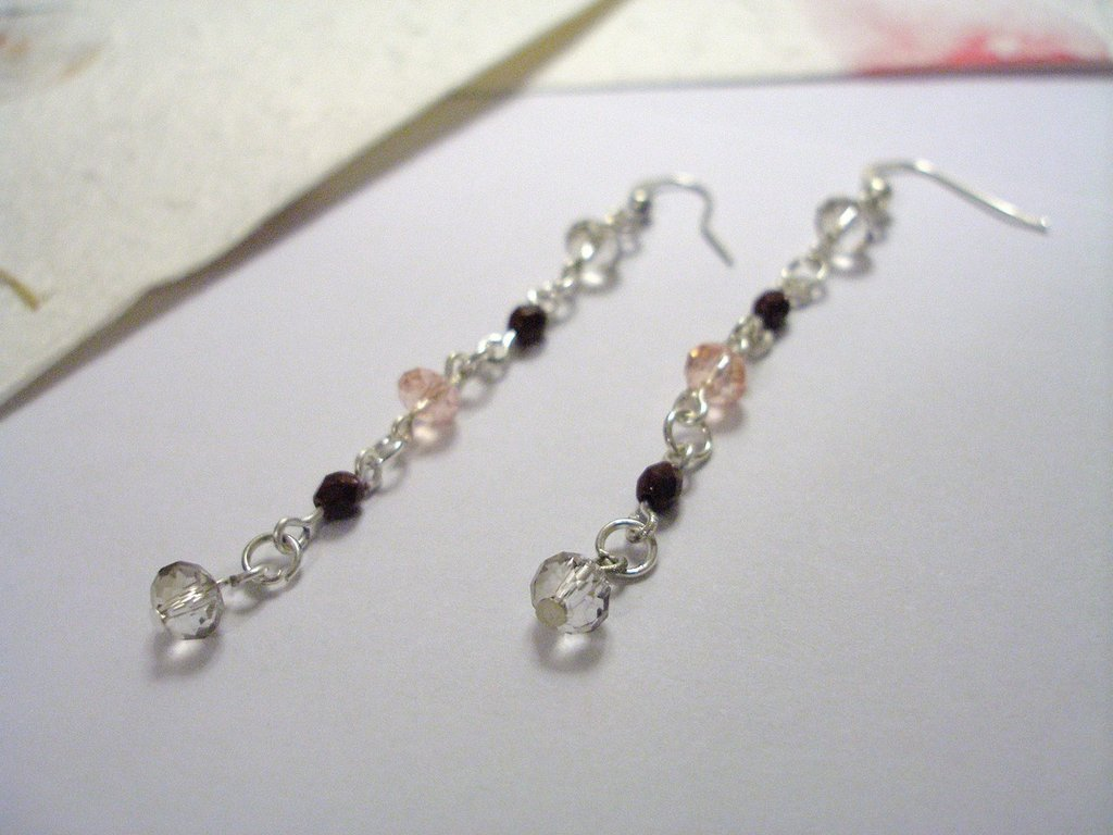 "orecchini pendenti ""rosa&bordò"""
