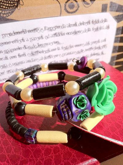 Bracciale Teschio di Zucchero (Sugar skull) viola/verde! VENDUTO