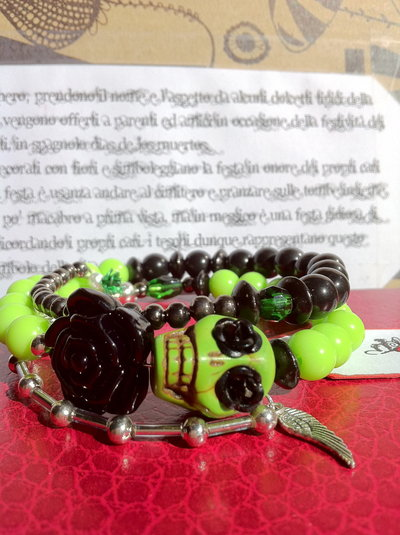 Bracciale Teschio di Zucchero (Sugar skull) nero/verde!