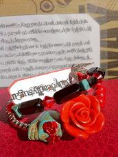 Bracciale Teschio di Zucchero (Sugar skull) Rosso/Nero/Turchese! VENDUTO