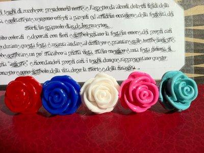 Anelli con rosa in resina blu/Bianca/turchese/rossa/rosa!