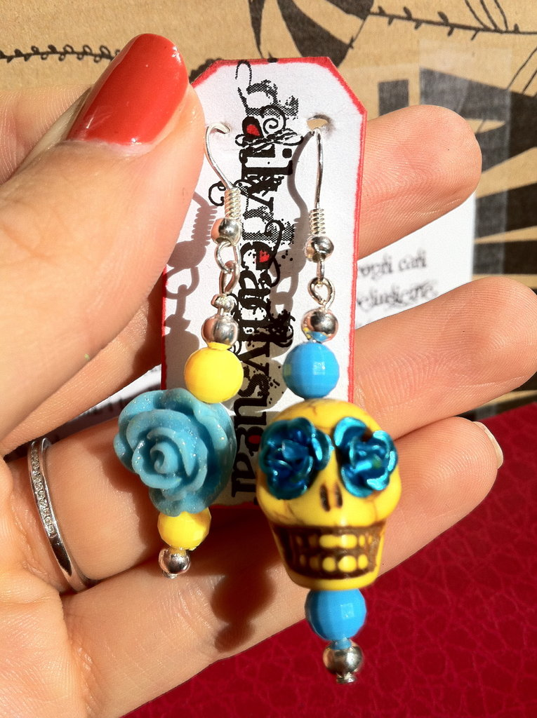 Orecchini Teschio di Zucchero (sugar skull) e rosa giallo/blu e giallo/azzurro!