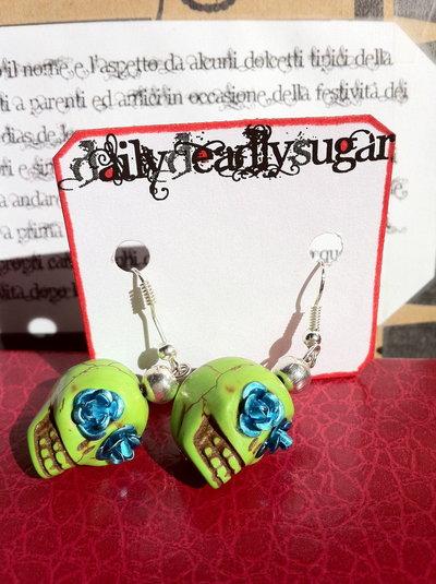 Orecchini Teschio di Zucchero (Sugar skull) verde/turchese!