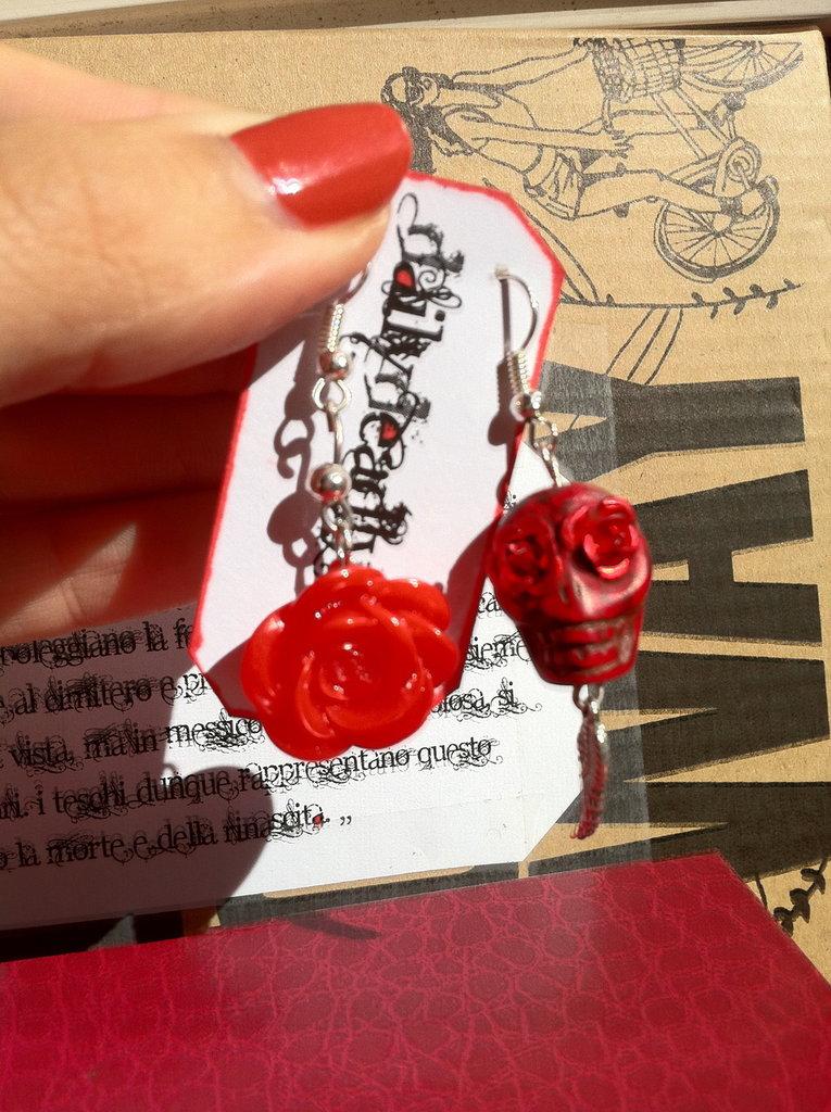 Orecchini Teschio di Zucchero (sugar skull) e rosa rossi!
