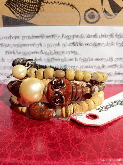 Bracciale Teschio di Zucchero (Sugar skull) perle e legno! VENDUTO