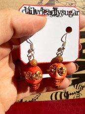 Orecchini Teschio di Zucchero (sugar skull) arancioni Halloween!