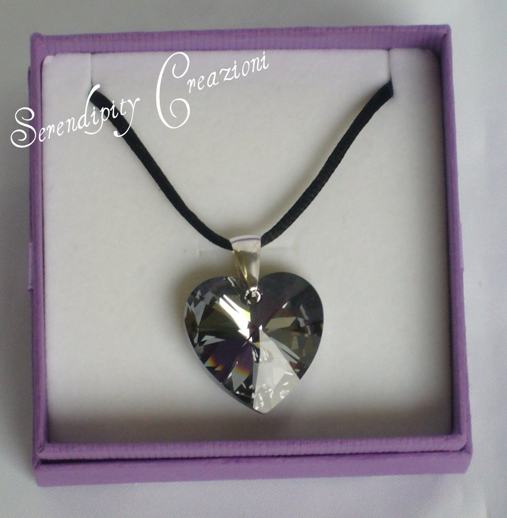 Cuore Swarovski Elements Silver Cristal Night