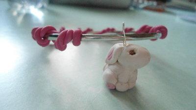 bracciale coniglietto in rosa
