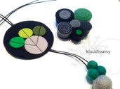 Collar y broche a conjunto fieltro verde y gris