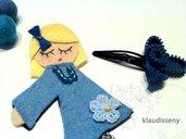Muñeca y horquilla a conjunto fieltro azul y cremallera