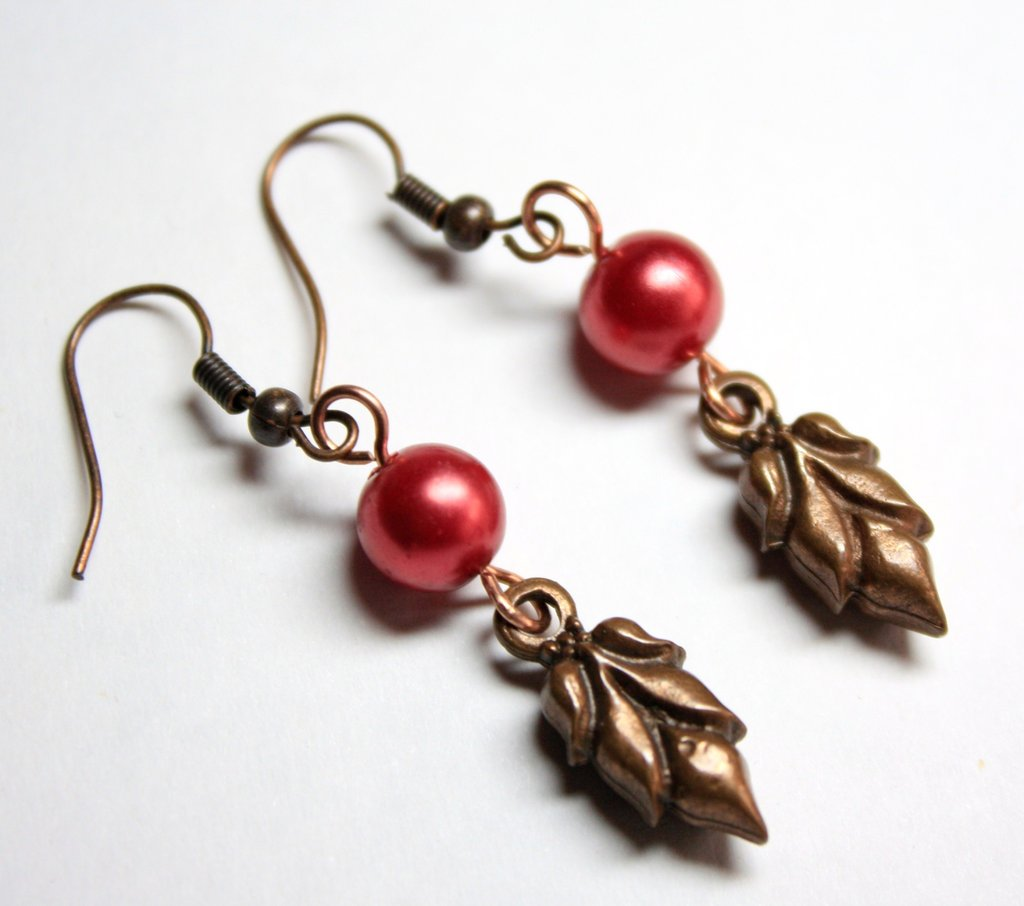 Copper Leaf and Red Pearl Earrings