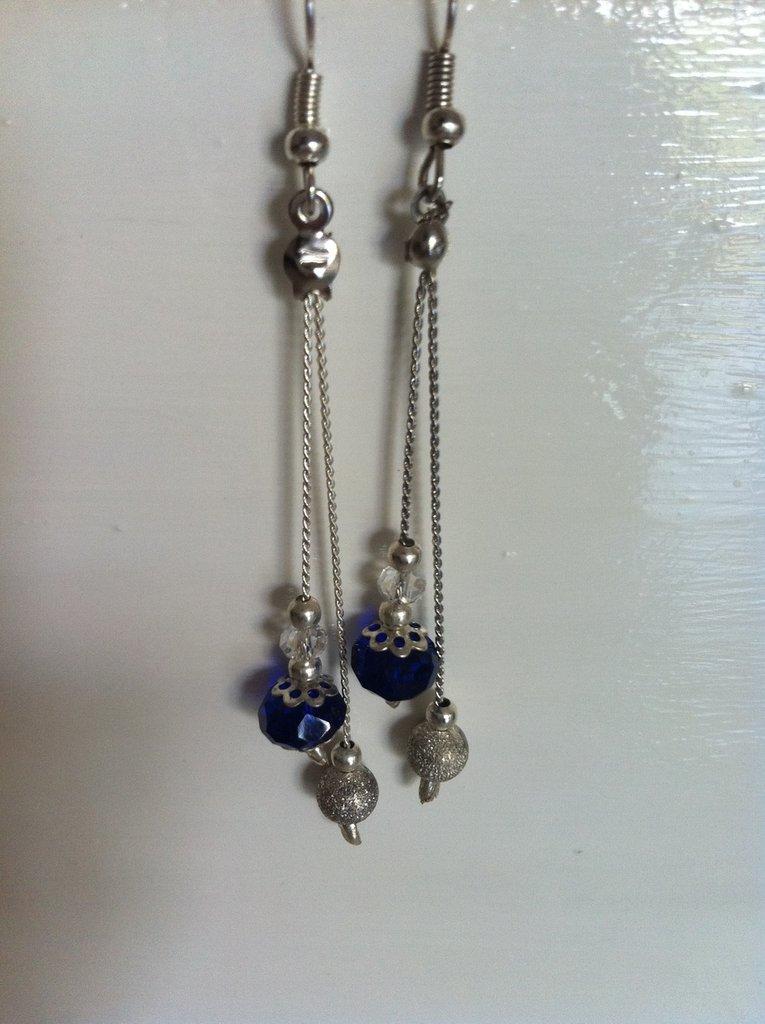 orecchini blu e argento
