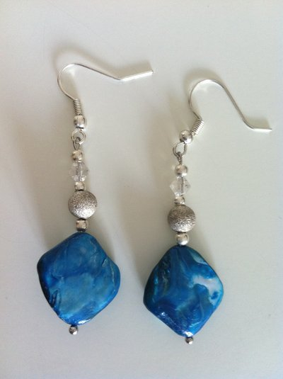 orecchini con pietra blu