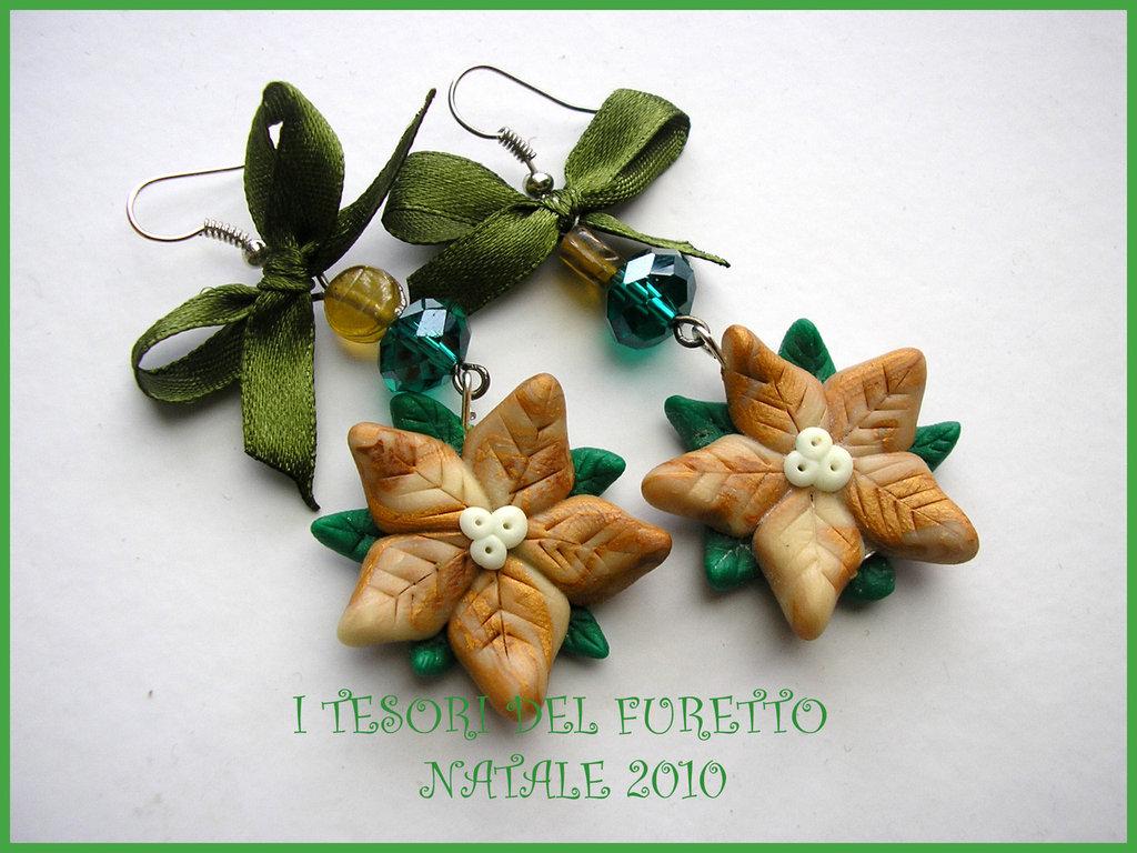 Orecchini Natale Stelle Natale Oro Fufuclassic bijoux NAtalizi