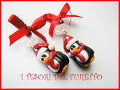 Orecchini Natale Pinguini Serie Fufuclassic bijoux natalizi