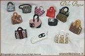Ciondoli borsette griffate in miniatura,Hermes,Gucci,Fendi,Chanel,Vuitton,Burberry