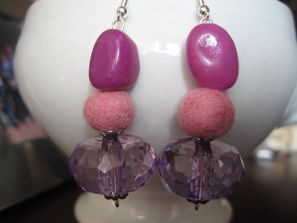 Orecchini feltro rosa
