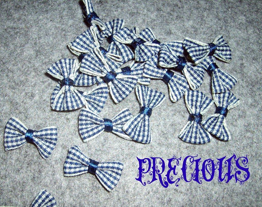 4 pz fiocchetti fantasia quadri blu