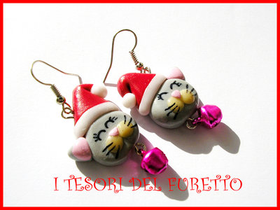 Orecchini Natale Fufufriends Classic GATTINO micio gatto cat earrings Idea regalo Fimo cernit moda xmas christmas