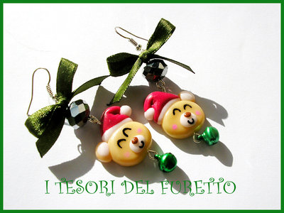 Orecchini Natale Fufufriends Classic ORSETTI Idea regalo Fimo cernit moda bear xmas earrings christmas