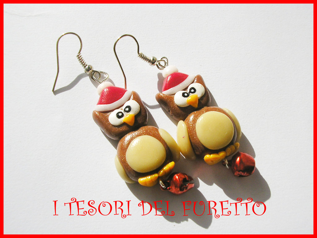 Orecchini Natale Fufufriends Classic GUFI GUFETTI owl earrings christmas xmas bijoux natalizi idea regalo
