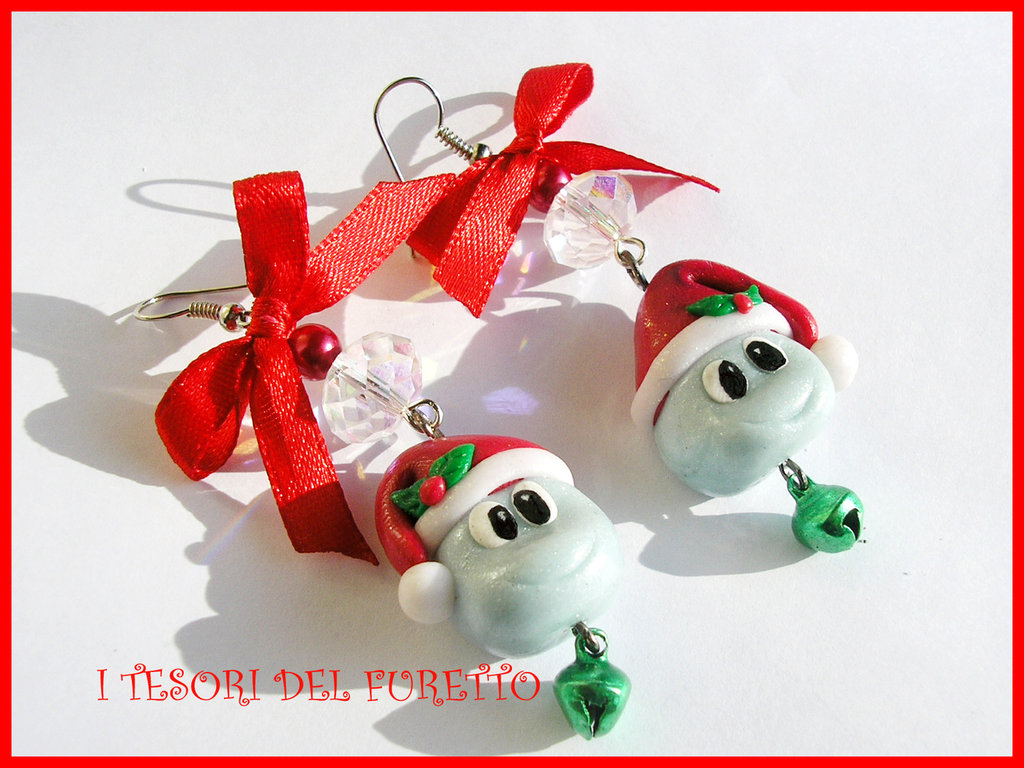 Orecchini Natale PARTICELLA DI SODIO Fimo cernit natalizi bijoux idea regalo handmade