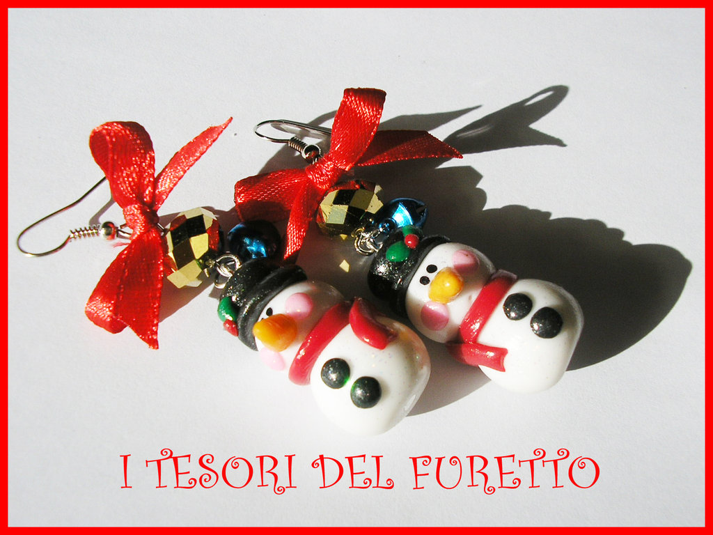 "Orecchini Natale ""pupazzi neve"" omini di neve kawaii bambina idea regalo  snowman earrings fimo cernit moda 2015 idea regalo"