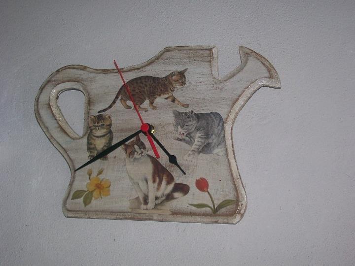 Orologio shabby chic e decoupage gatti per la casa e per for Orologio shabby chic
