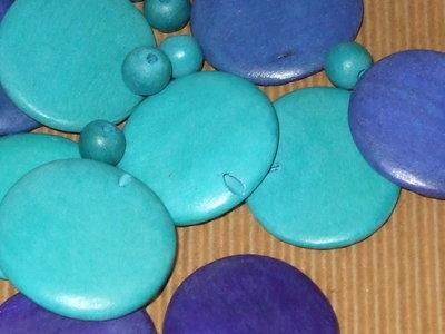 Lotto 27 perle legno blu turchese vend.