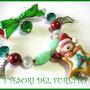 BRACCIALE * NATALE 2011 *  SERIE FUFUORSETTI FIMO PERLE * biscotto stella* bijoux natalizi idea regalo orsetto charm bracelet bear xmas christmas