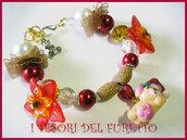 BRACCIALE * NATALE 2011 *  SERIE FUFUORSETTI FIMO PERLE * Orsetto che dorme * bijoux natalizi idea regalo orsetto charm bracelet bear xmas christmas