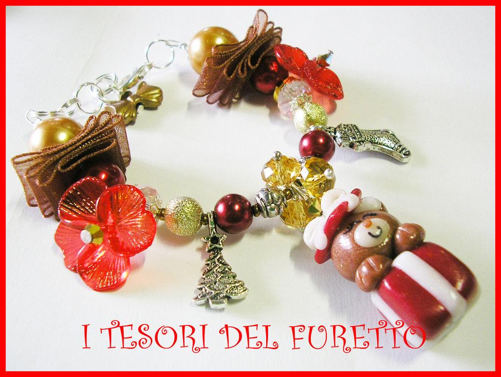 BRACCIALE * NATALE 2011 *  SERIE FUFUORSETTI FIMO PERLE * Orsetto dentro pacchetto rosso* bijoux natalizi idea regalo orsetto charm bracelet bear xmas christmas