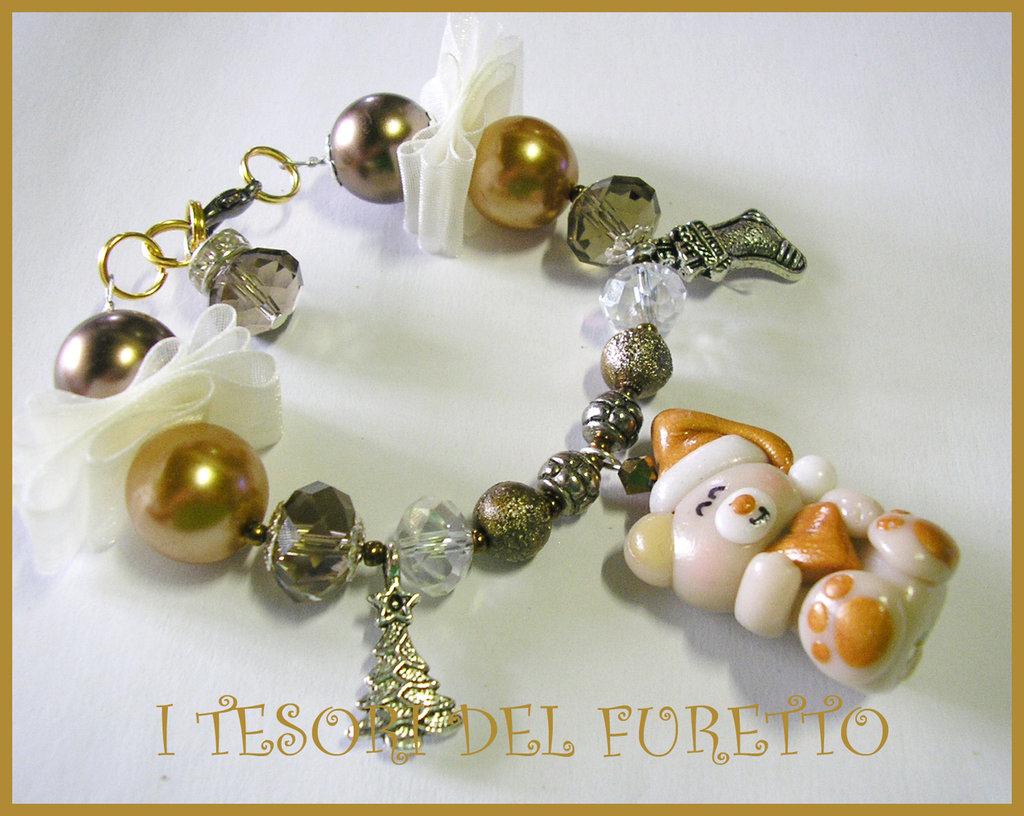 BRACCIALE * NATALE 2011 *  SERIE FUFUORSETTI FIMO PERLE * Orsetto panna con cuoricino Oro * bijoux natalizi idea regalo orsetto charm bracelet bear xmas christmas