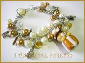 BRACCIALE * NATALE 2011 *  SERIE FUFUORSETTI FIMO PERLE * orsetto  dentro pacchetto regalo Oro * bijoux natalizi idea regalo orsetto charm bracelet bear xmas christmas