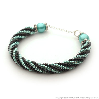 Black and sea blue bracelet