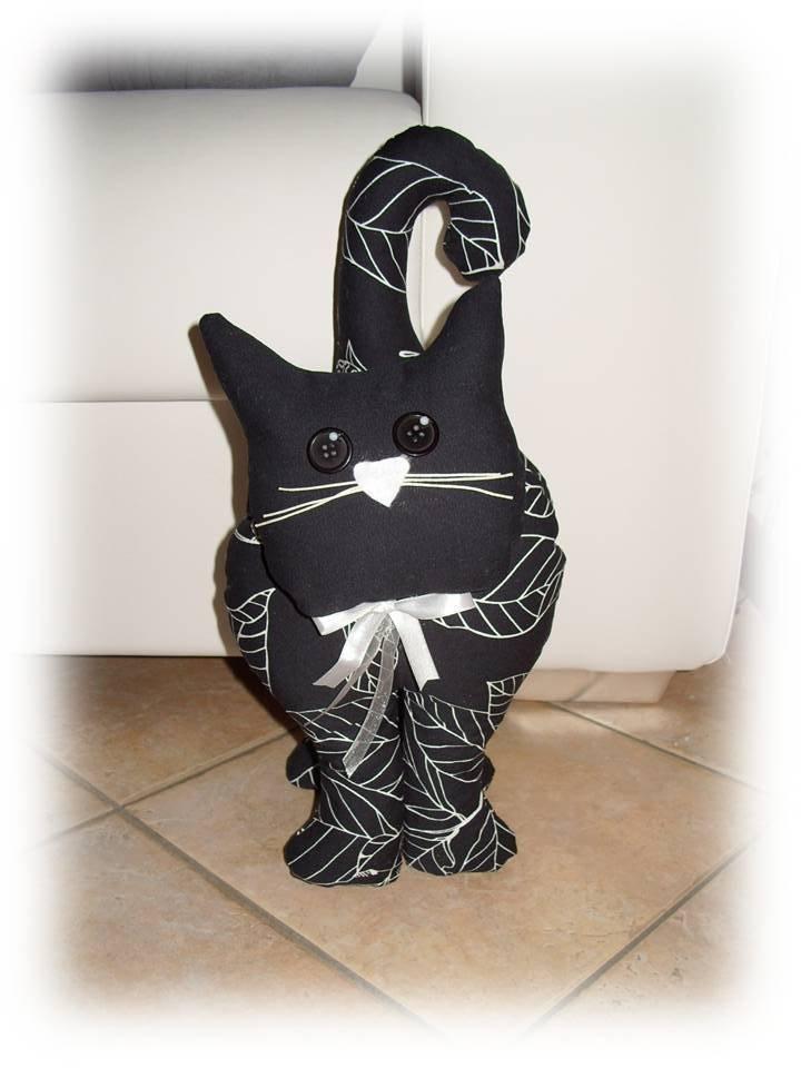 Gatto fermaporta nero per la casa e per te decorare for Gnomi di stoffa fai da te