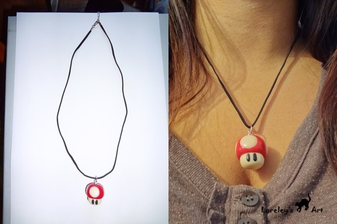 collana con funghetto toad fimo - necklace with Toad mushroom fimo