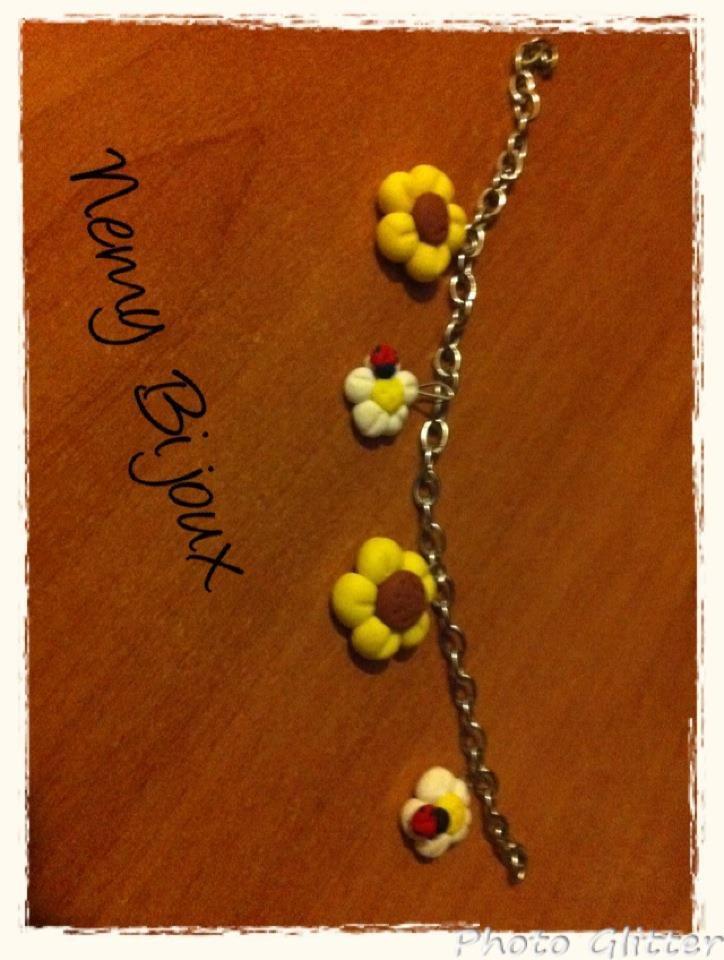 Braccialetto con margherite gialle e bianche